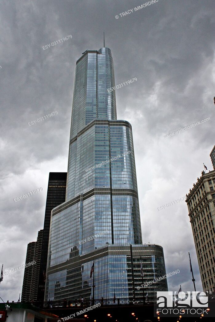 Stock Photo: Trump Tower under ominous clouds in Chicago, Illinois, USA.