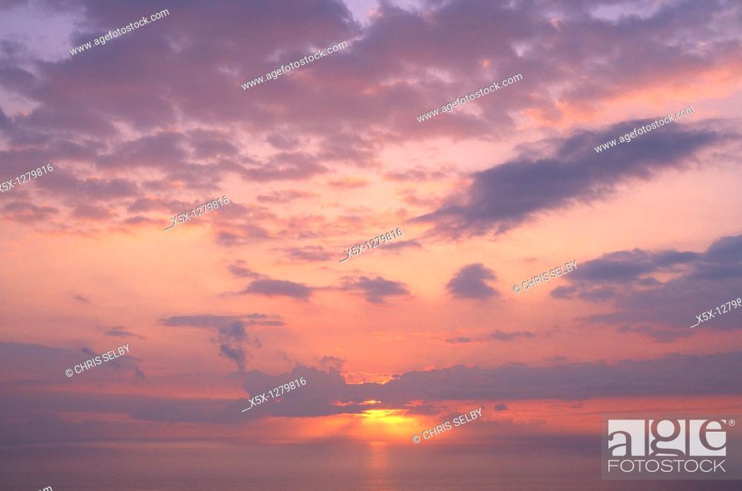 Stock Photo: Sunset, Big Island, Hawaii, USA.