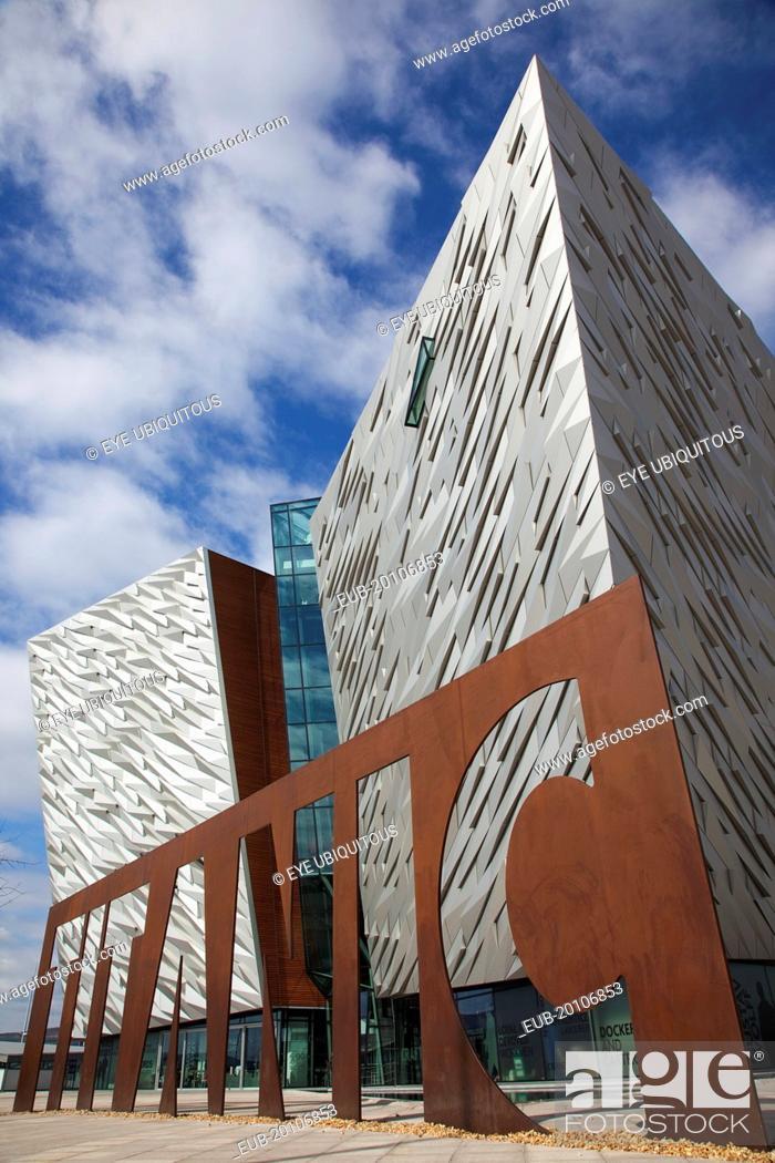 Stock Photo: Titanic Quarter Visitor centre designed by Civic Arts & Eric R Kuhne.