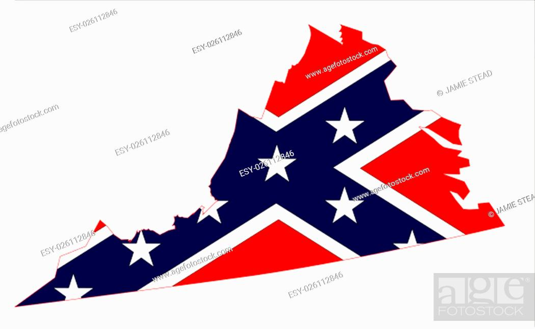 Imagen: Outline of the state of Virginia with confederate flagover white.