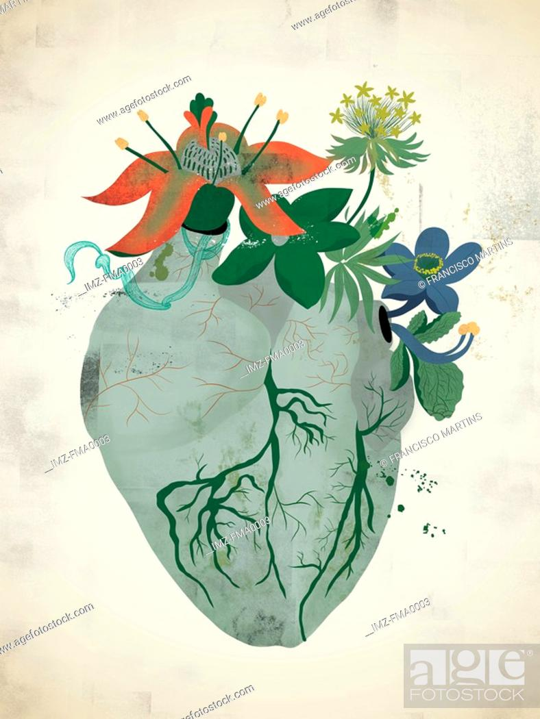 Stock Photo: A gray heart with flowers growing out of it.
