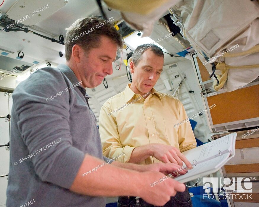 Stock Photo: European Space Agency astronaut Roberto Vittori (left) and NASA astronaut Andrew Feustel, both STS-134 mission specialists.