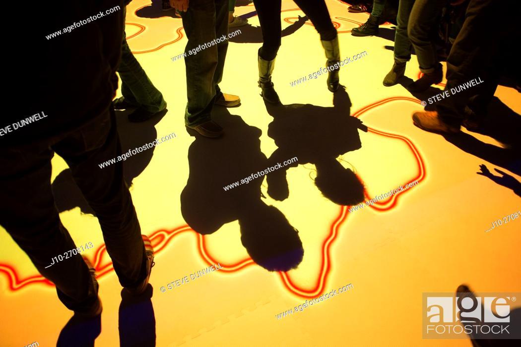 Stock Photo: Shadows at Illuminus event, Lansdowne St. , Boston, MA, USA.