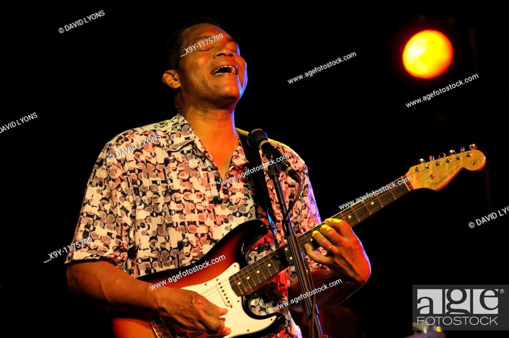 Stock Photo: Robert Cray, US blues singer rock musician performing in the main stage marquee  Maryport Blues Festival, 2010  Cumbria, England.