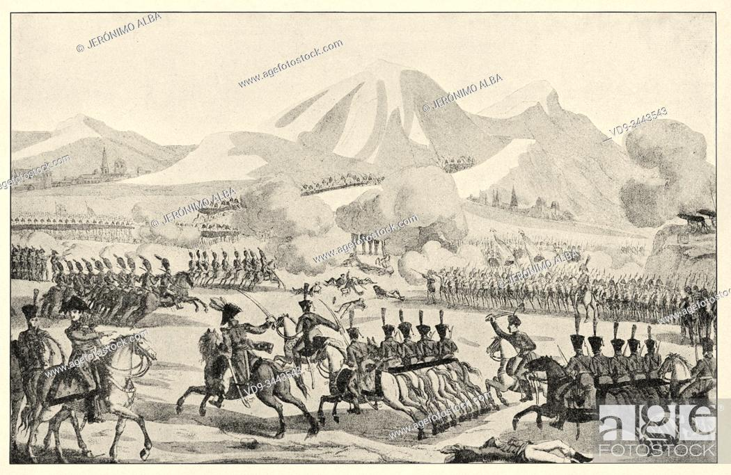 Stock Photo: The battle of Tudela was fought on November 23, 1808 near Tudela, Spain. The battle led to the overwhelming victory of the French commanded by Marshal Jean.