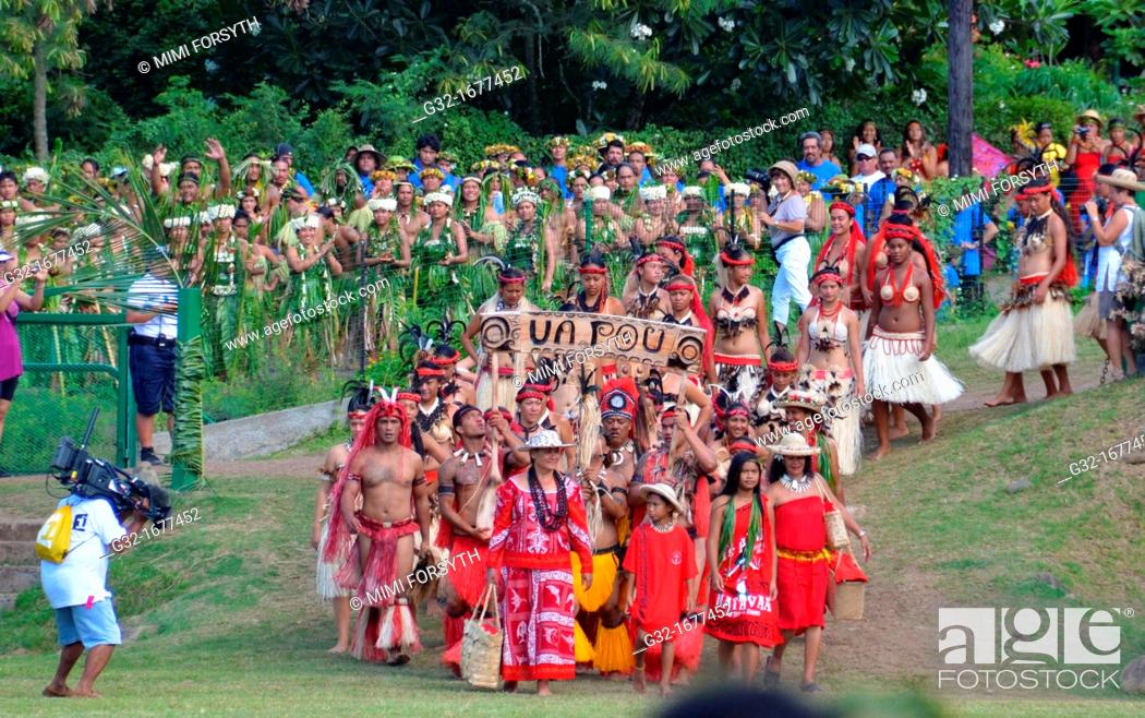 Stock Photo: Delegations arriving for Marquesan festival -group from Ua Pou in front-, Nuku Hiva, Marquesas Islands, French Polynesia.