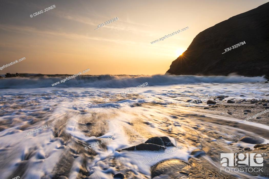 Stock Photo: Duckpool on the Hartland Heritage Coast, North Cornwall, England.