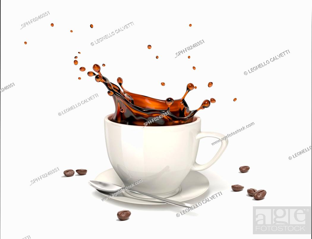 Imagen: Liquid coffee splash in a white cup on saucer and spoon, With some coffee beans around on the floor.