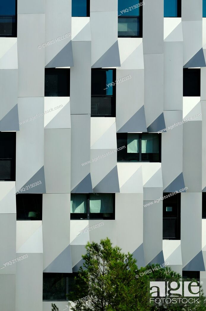 Stock Photo: Facade of Music Conservatory by Kengo Kuma Aix-en-Provence Provence France.