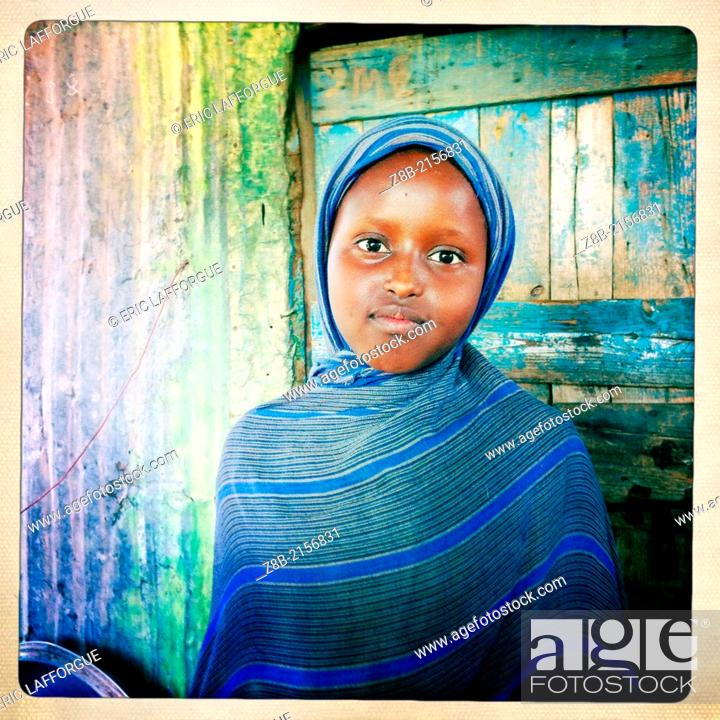 Burao Somaliland December 09 Portrait Of A Young Girl Stock