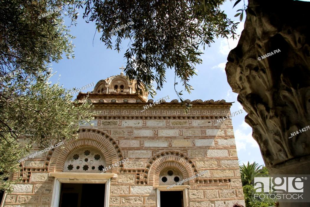 Stock Photo: Detail of the Byzantine Greek Orthodox Church of the Holy Apostles of Solaki, Ancient Agora, Athens, Greece.