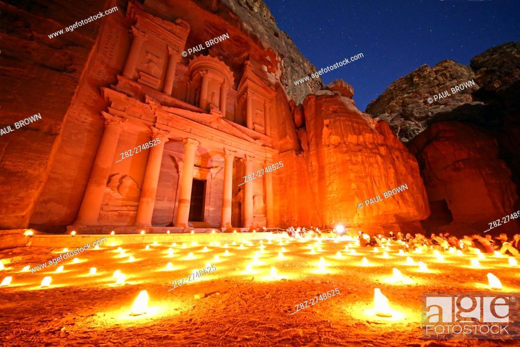 Stock Photo: View of the Treasury, Al-Khazneh, at night with candles, Petra, Jordan.