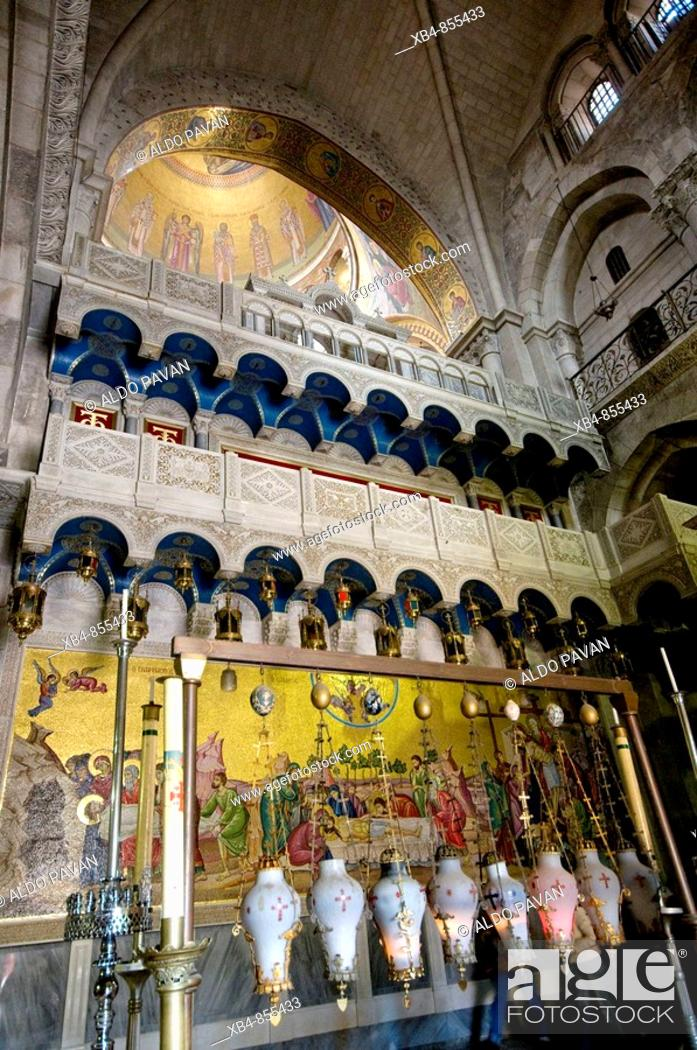 Stock Photo: Stone of Anointing, Church of the Holy Sepulchre, Jerusalem, Israel.