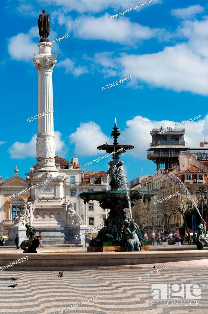 Stock Photo: Fountain in Rossio Square, Lisbon, Portugal.