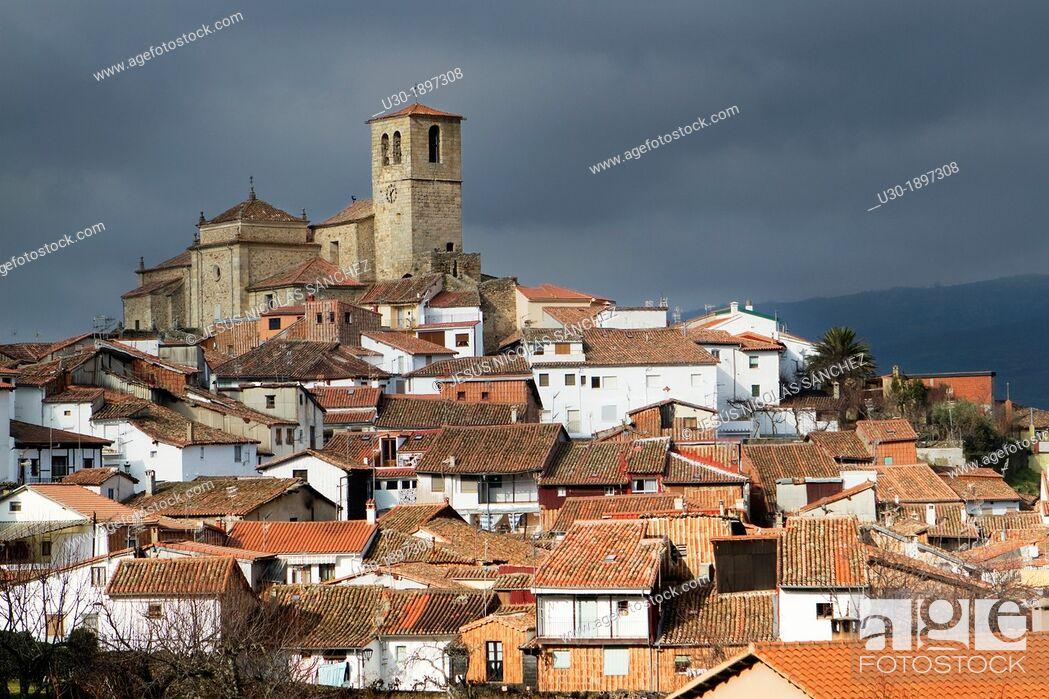 Stock Photo: Jewish quarter and Santa Maria de Aguas church XVI-XVII centuries, Hervás, village declarated Historical-Artistic Site  Caceres province  Spain.