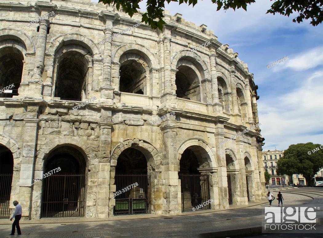Stock Photo: Nimes Arena, NImes, Gard Department, Occitanie, France.