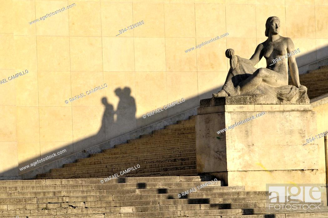 Stock Photo: Shadows of people by Pomone sculpture (1937, Robert Wlérick) in the Trocadero, Paris, France.