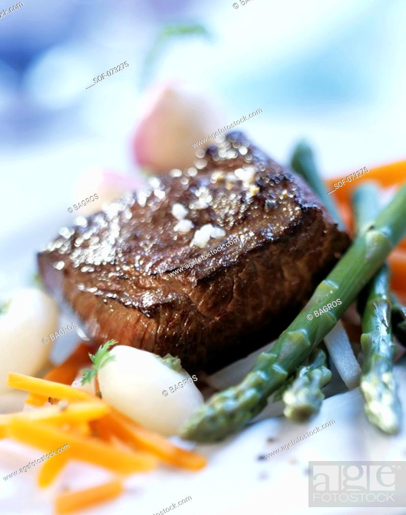Stock Photo: steak with vegetables.