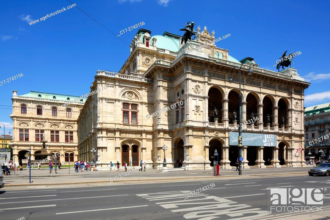 Stock Photo: Austria, A-Vienna, Danube, Federal Capital, Vienna State Opera at the Opernring, Vienna Ring Road, UNESCO World Heritage Site.