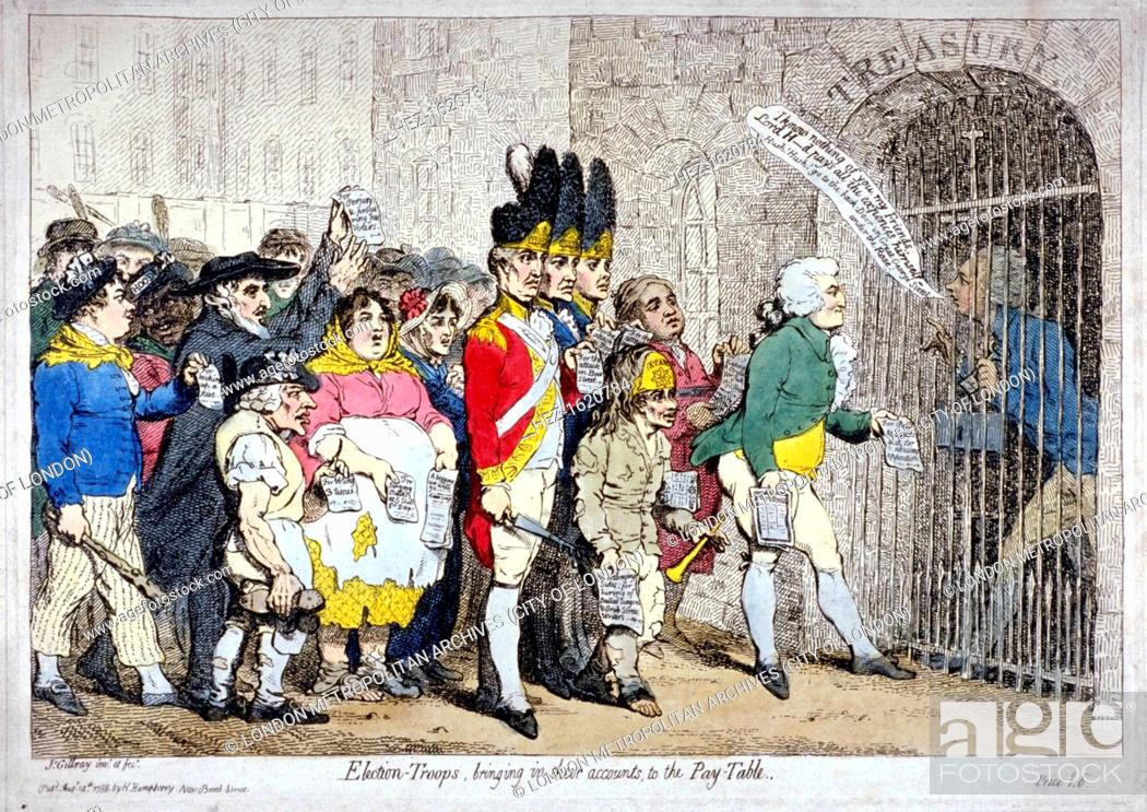 Stock Photo: 'Election-troops, bringing in their accounts, to the pay-table', 1788. The 'troops' headed by Major Topham, approaching the barrier gate of the Treasury behind.