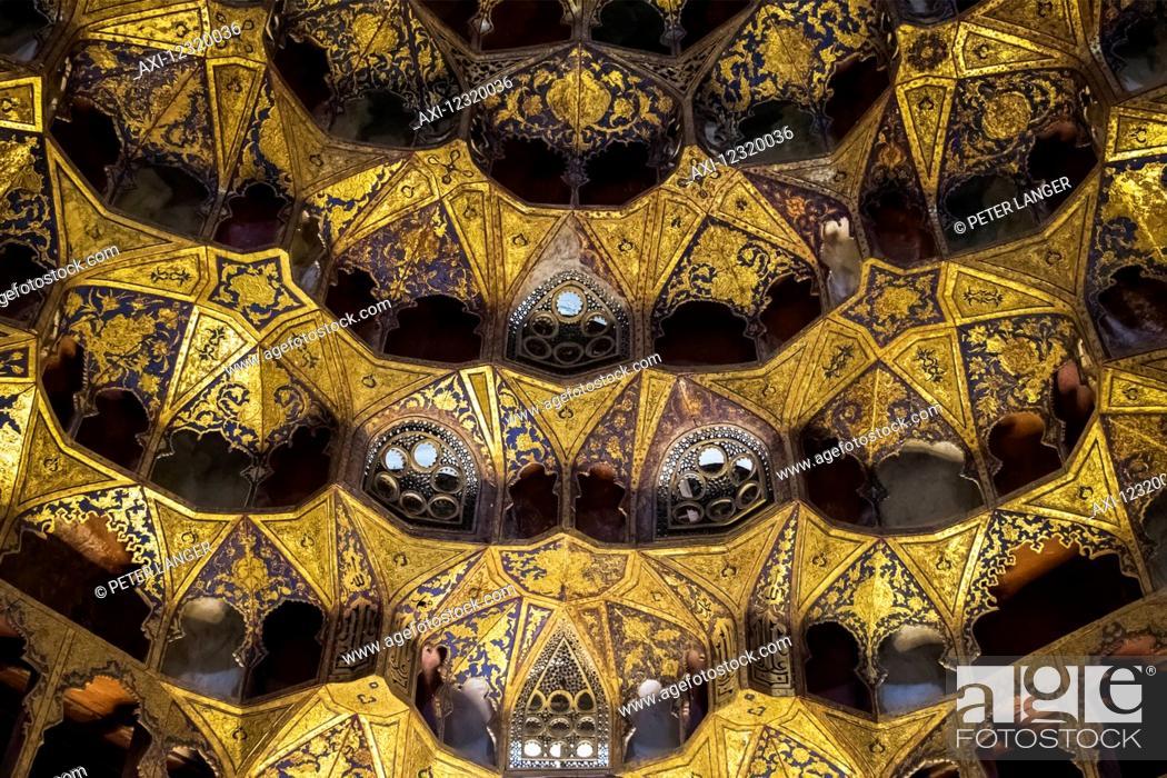 Stock Photo: Murqanas (ornamental vaulting in the chini 17th-century Porcelain House in the Sheikh Safi al-din Khanegah and Shrine Ensemble; Ardabil, Iran.