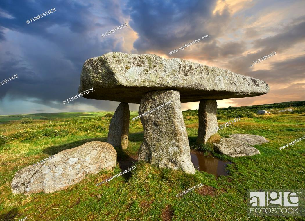 Stock Photo: Lanyon Quoit is a megalithic burial dolmen from the Neolithic period, circa 4000 to 3000 BC, near Morvah on the Penwith peninsula, Cornwall, England.