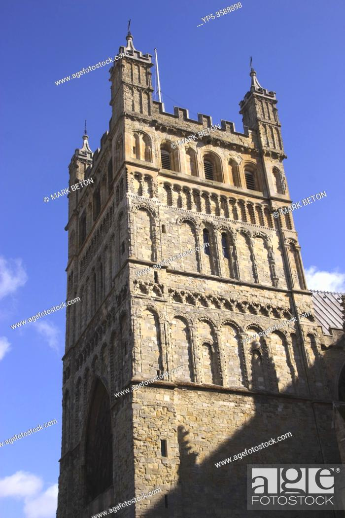 Stock Photo: Tower of Exeter Cathedral Devon England.