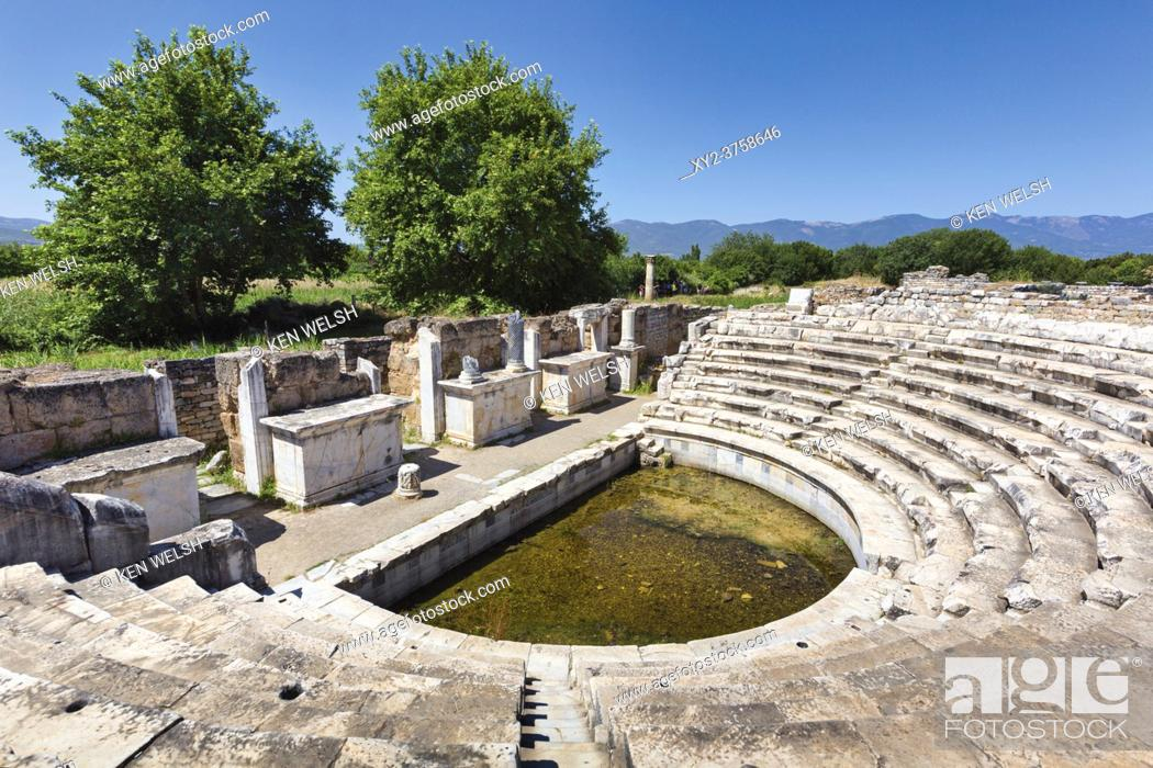 Stock Photo: Ruins of Aphrodisias, Aydin Province, Turkey. The intimate ten-tiered Odeon. Aphrodisias, which is a UNESCO World Heritage Site, was dedicated to Aphrodite.