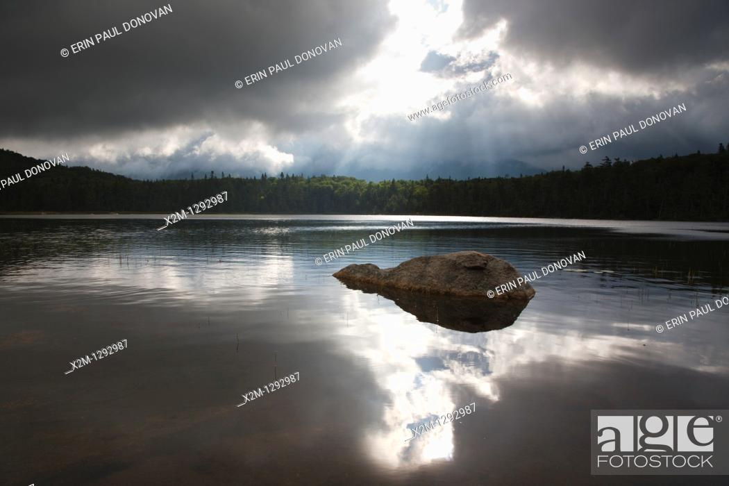 Stock Photo: Franconia Notch State Park - Lonesome Lake in the White Mountains, New Hampshire USA  This lake is located long the Appalachian Trail.