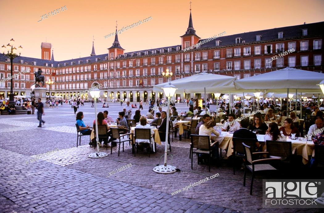 Stock Photo: Plaza Mayor (main square), Madrid, Spain.
