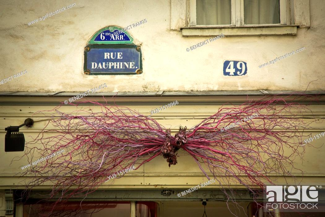 Stock Photo: Store decoration made from painted twigs above shop in Rue Dauphine, Paris, France.