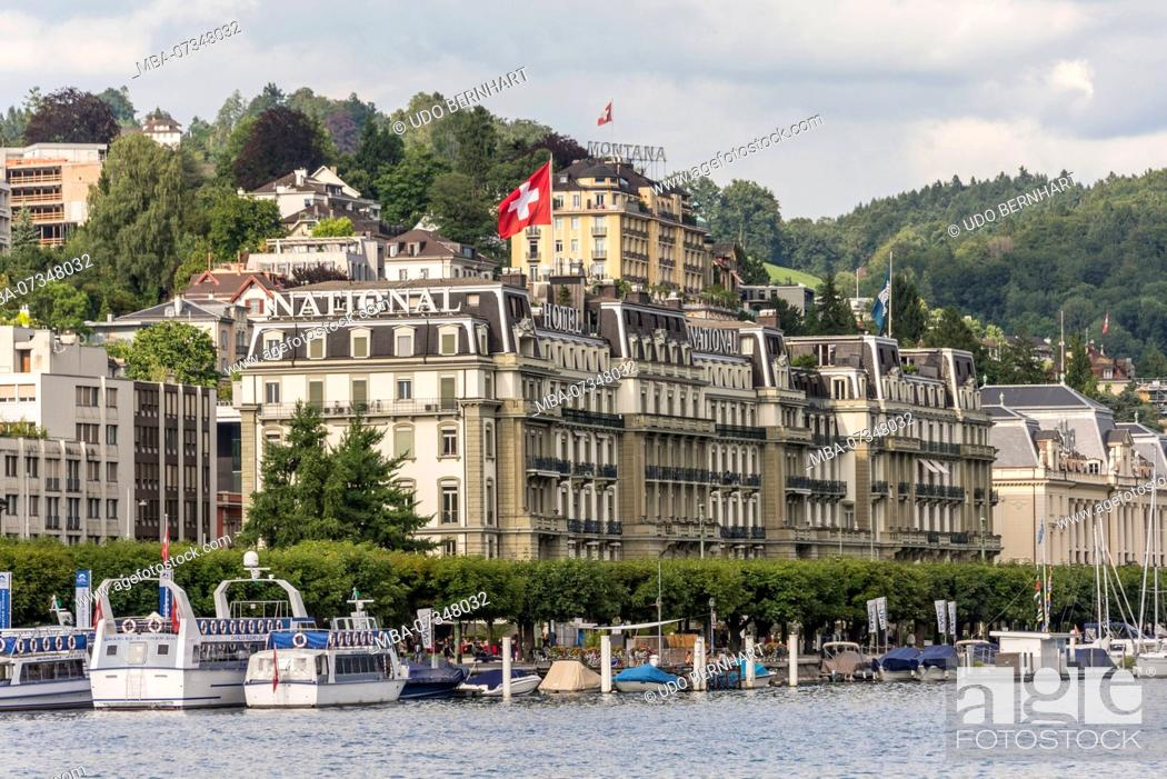 Stock Photo: View on the northern shore with Hotel National, Lucerne, Lake Lucerne, Canton Lucerne, Switzerland.