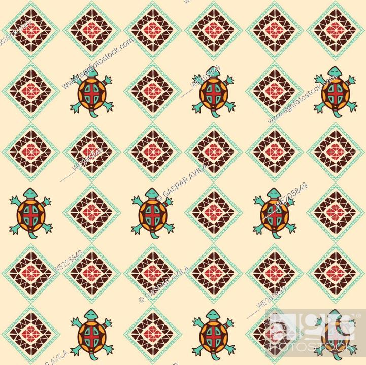 Stock Vector: Native american related pattern with colorful turtle spirits.