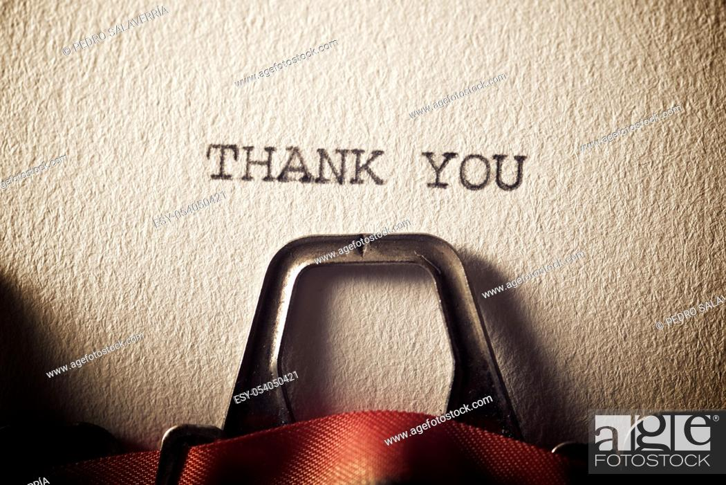 Photo de stock: The sentence, Thank You, written with a typewriter.