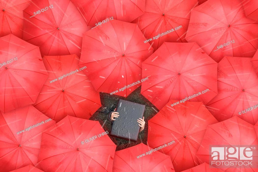 Stock Photo: Person with briefcase over head standing between red umbrellas, directly above.