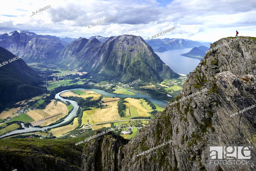 Stock Photo: Norway, More og Romsdal, Rauma, Andalsnes, Romsdalseggen Ridge, one of the most famous hike in Norway.