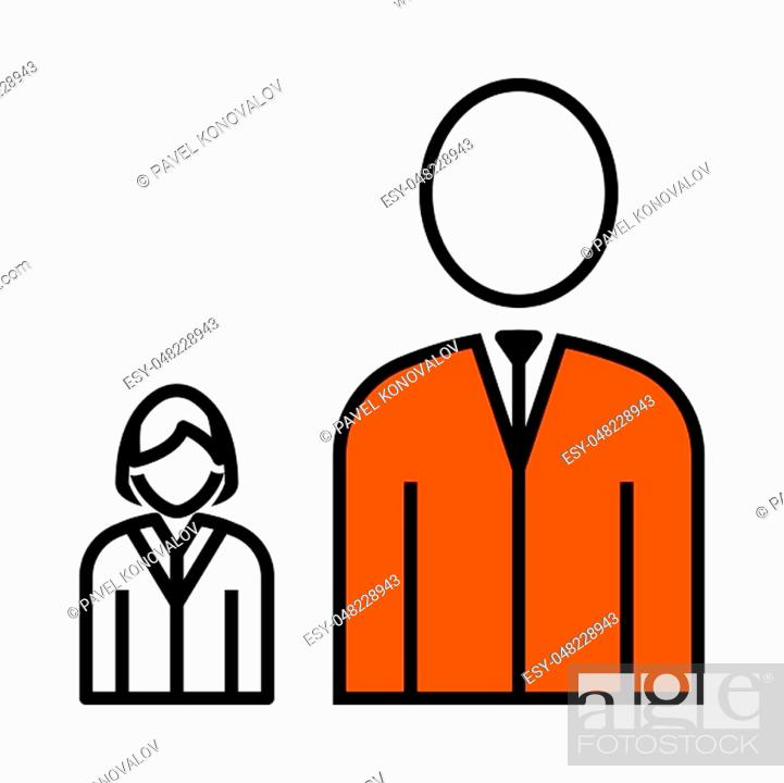 Stock Vector: Man Boss With Subordinate Lady Icon. Thin Line With Orange Fill Design. Vector Illustration.