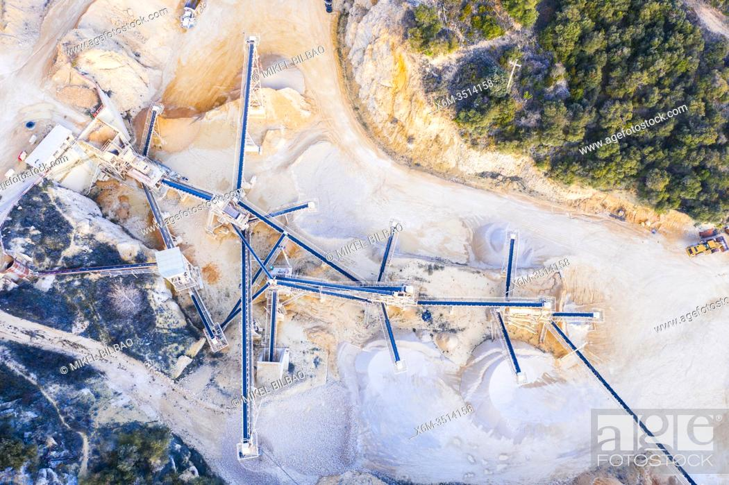 Stock Photo: Quarry. Aerial view. Ancin area. Navarre, Spain, Europe.