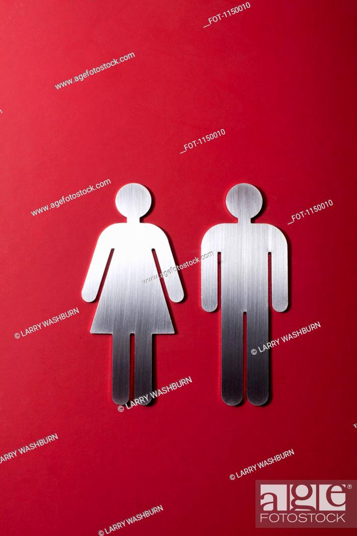 Stock Photo: Female and male restroom sign figures side by side.