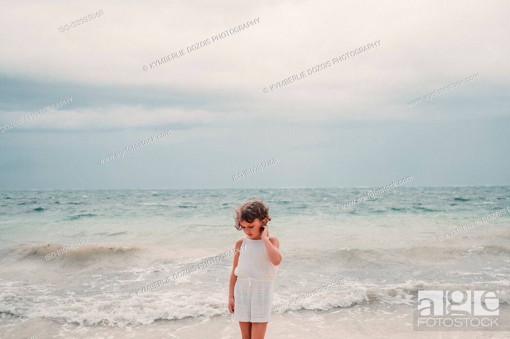 Stock Photo: Girl on beach, Cancun, Mexico.