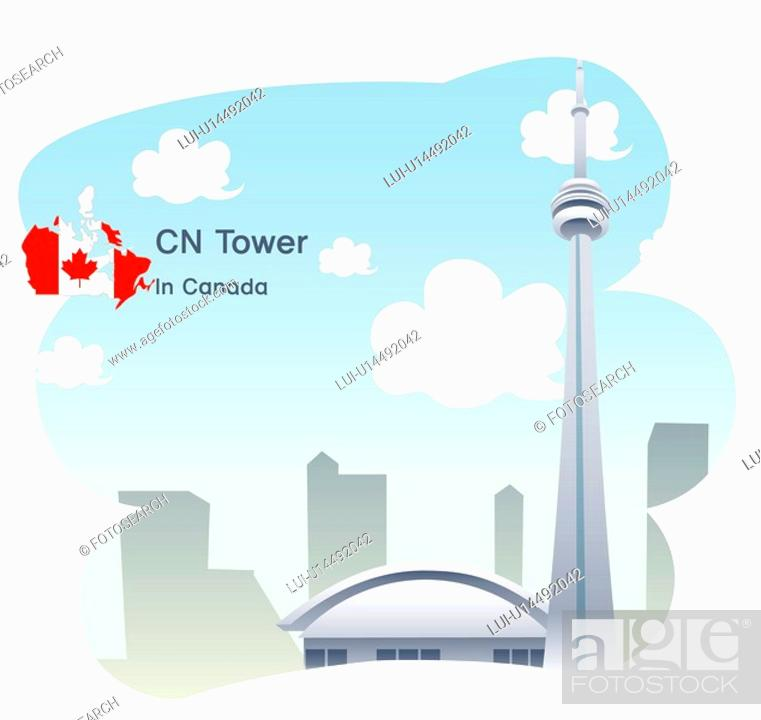 Stock Photo: national flag, tourism, travel, sky, map, sightseeing, canada.