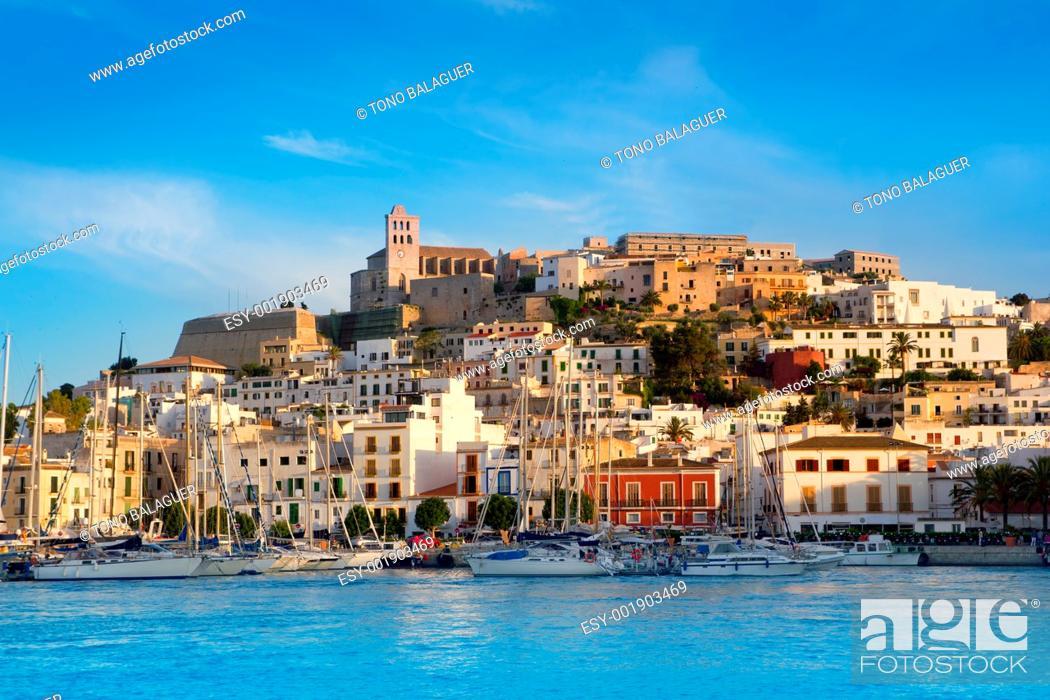 Photo de stock: Ibiza Eivissa town with blue Mediterranean sea city view.