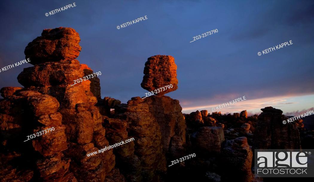 Stock Photo: Sunset at Chiricahua National Monument, Arizona.