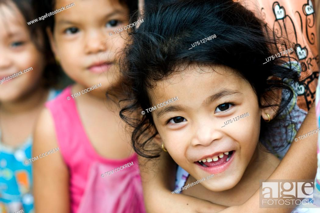 Stock Photo: Children at Stung Hao fishing port, Sihanoukville, Cambodia.