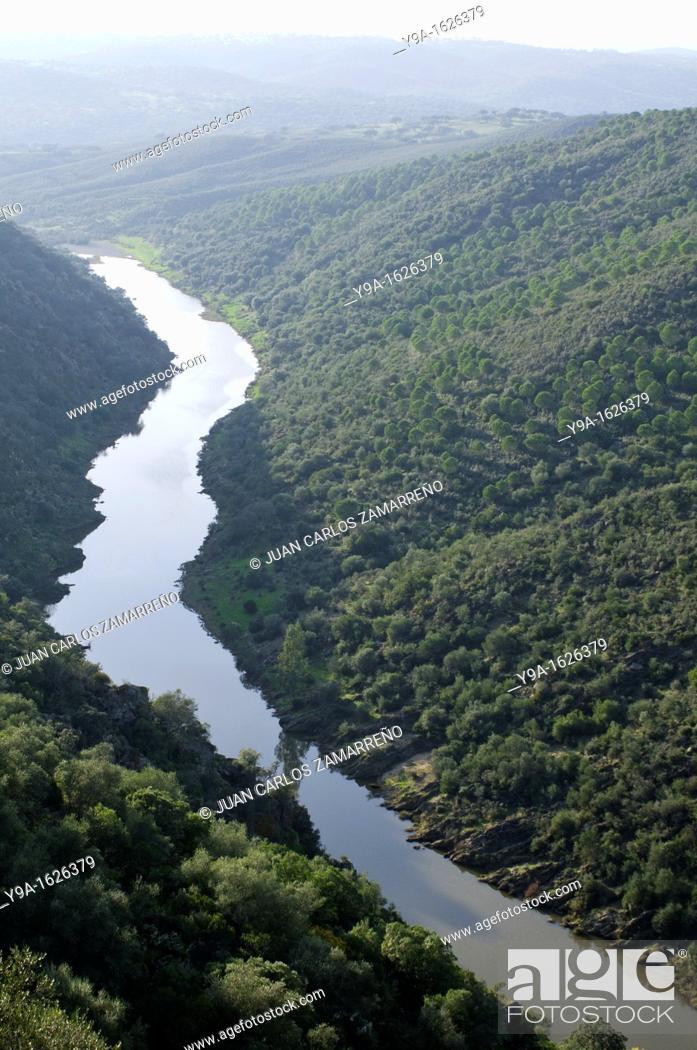 Stock Photo: Ardila river from Noudar Castle, Barrancos, Beja, Alentejo, Portugal.