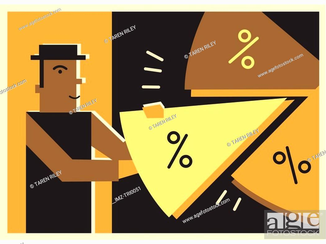 Stock Photo: Man taking a piece of a pie chart.