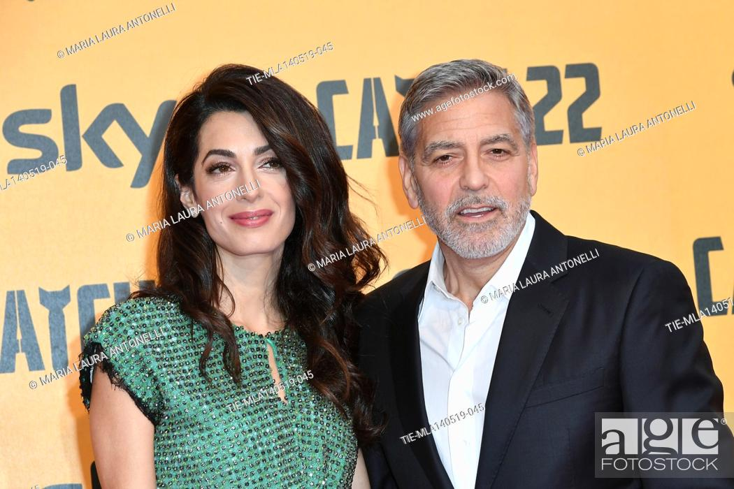 Stock Photo: George Clooney with wife Amal Alamuddin during the Red carpet for the Premiere of film tv Catch-22, Rome, ITALY-13-05-2019.
