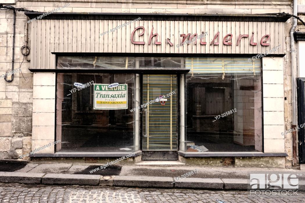 Stock Photo: Closed clothing shop, Saint-Aignan, Loir-et-Cher, Centre, France.