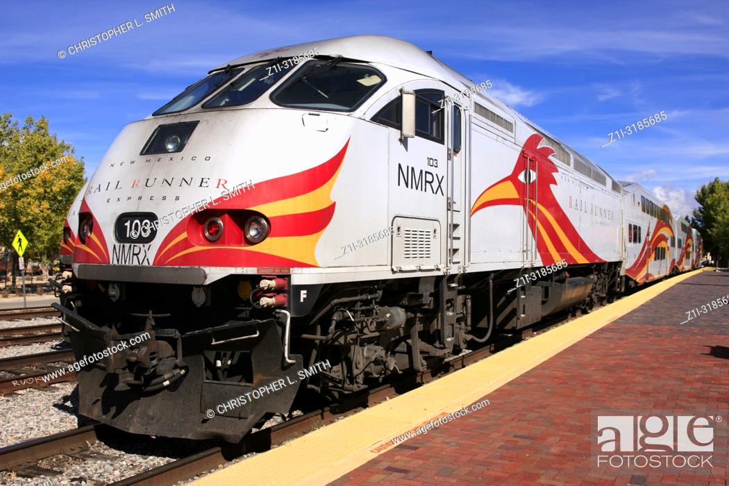 Stock Photo: Rail Runner train in the station at the Railyard in Santa Fe, New Mexico USA.