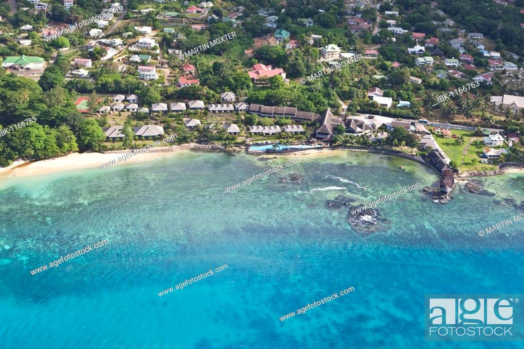 Stock Photo: Hotel Le Meridien Fisherman's Cove in the bay of Beau Vallon, Mahe Island, Seychelles, Indian Ocean, Africa.